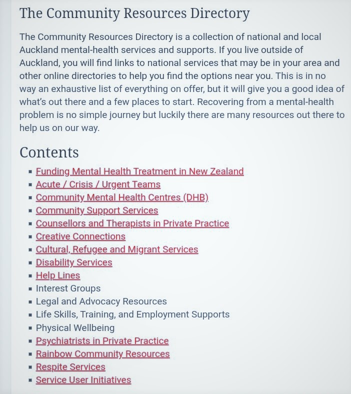 Screenshot of Community Resources Directory contents page showing sections on Funding Mental Health Treatment in New Zealand, Acute / Crisis / Urgent Teams, Community Mental Health Centres (DHB), Community Support Services, Counsellors and Therapists in Private Practice, Creative Connections, Cultural, Refugee and Migrant Services, Disability Services, Help Lines, Psychiatrists in Private Practice, Rainbow Community Resources, Respite Services, and Service User Initiatives