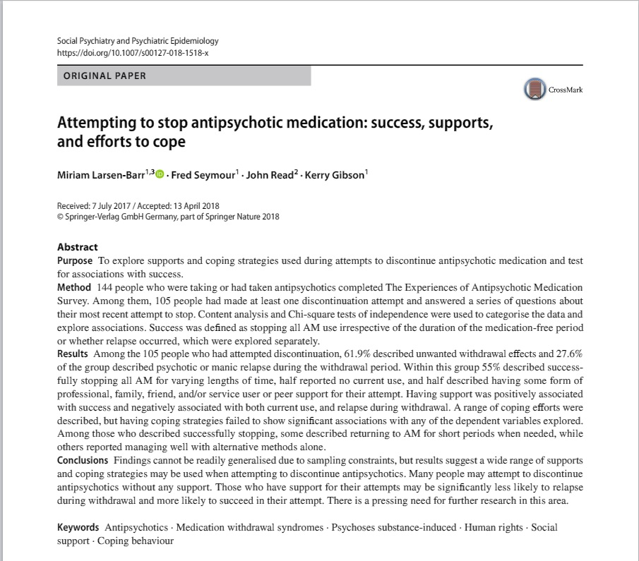 Abstract Attempting to Stop Antipsychotic Medication Success Supports and Efforts to Cope